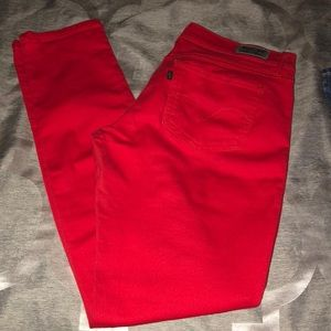 Red skinny Levi's jeans with studded front!